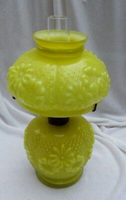 Antique Vintage Rare Bright Yellow Glass Miniature Oil Lamp Embossed Flowers P&G