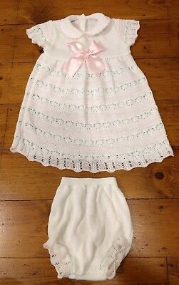 Baby Girls Knitted Spanish White & Pink Dress & Jam Pant Set Age 12/18 Months
