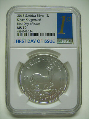 """2018 South Africa Silver Krugerrand NGC MS70 """"First Day of Issue"""" FDI 1st Label"""