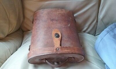 Antique hard leather BINOCULAR CASE for large pair vintage binoculars. Case only