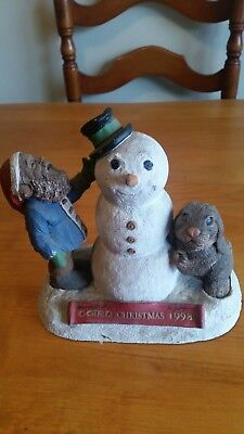 Tom Clark Gnome Tim Wolfe CHRISTMAS 1998 SNOWMAN SIGNED BY Clark &  Wolfe No COA