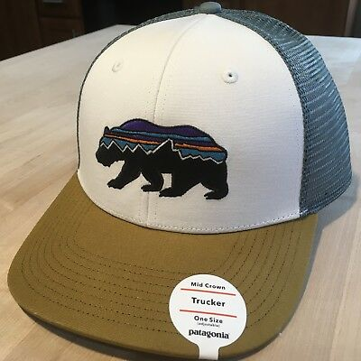 Patagonia Fitz Roy Bear Trucker Hat New With Tags - White w  Kastanos Brown 53245990d6b