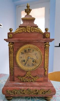 Red Marble French Clock Bell Striking G.W.O. With Ormolo Mounts