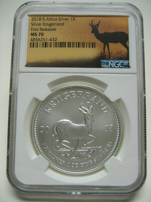 """2018 South Africa Silver Krugerrand NGC MS70 """"First Releases"""" Springbok Label"""