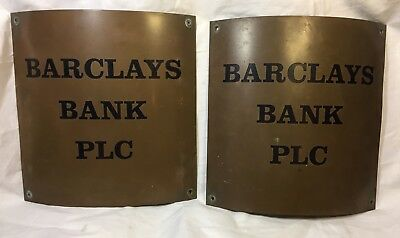 Vintage Barclays Bank Brass Enamel Signs Pair Curved For Columns Great Display