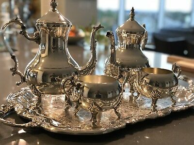 Mid Century FB Rogers Silver Plated Tea Set with Towle Serving Tray