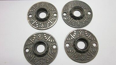 4 Antique Eastlake / Victorian Door Knob Matching Cast Iron Rosettes Backplates