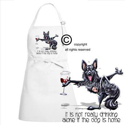 Belgian Sheepdog Dog Breed Cartoon Art Not Drinking Alone Kitchen Chef Apron