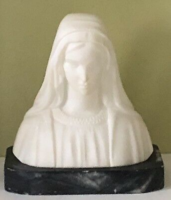 Antique Italy Italian Hand Carved Marble Stone Lady Girl Scarfed Bust Sculpture