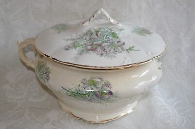 Antique Revere Floral Chamber Pot Lid Lidded Ornate embossed hand painted