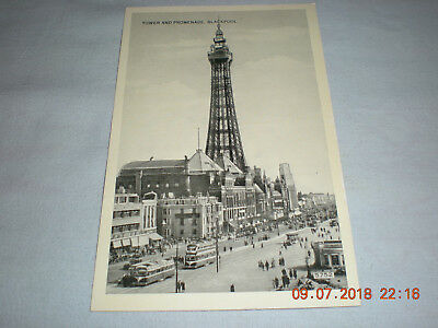 Old unused English Black & White Post Card Tower And Promenade Blackpool