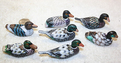 7 Collectibles Miniature Wood Ducks Great Detail