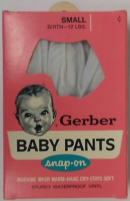 Vintage Gerber Vinyl Baby Pants~Snap-On~Size Up To 12 Lbs~Made In Usa~New In Box