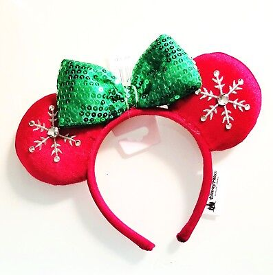 Disney Parks 2018 Christmas Red Jeweled Snowflake Minnie Ears Headband NWT