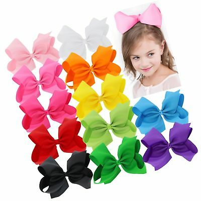 BIG 8 Inches Hair Bows For Girls Grosgrain Boutique Hair Bow Clips For Teens ...