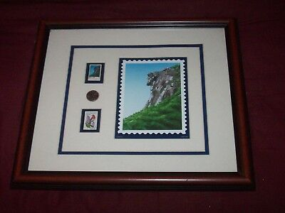 """Awesome USPS 17"""" X 15"""" Framed Display - New Hampshire's Old Man In The Mountain"""