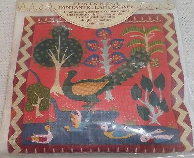 "Campden Needlepoint Kit PEACOCK IN INDIA LANDSCAPE Sarah Beecham YARN 16x16"" NIP"