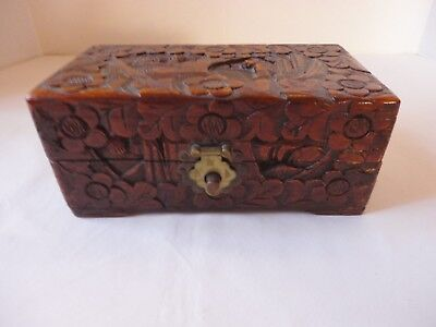 Vintage Chinese Camphor Wood Carved Box Lucky Chest Made in Hong Kong