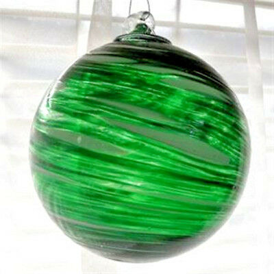 "Hanging Glass Ball 4"" Diameter Green with Swirls (1) Friendship Ball GB95"
