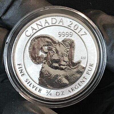 2017 Canada Big Horn Sheep 2 Dollars 3/4 Oz .9999 Silver ASW Crown Gem BU #1
