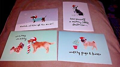 Boxed Set of 16 Assorted Holiday Note Cards Dogs Dachshund Pug Golden Boston