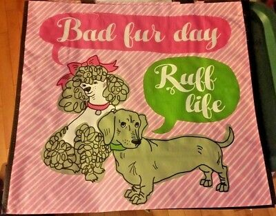 """""""Bad Fur Day"""" & """"Ruff Life"""" Dachshund & Poodle Dogs Pink Reusable Shopping Bag"""