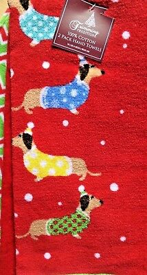 Set of 3 Dachshund Sausage Dogs Christmas Holiday Dish Hand & Tip Towels NWT