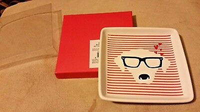 Dog Wearing Glasses Ceramic Trinket Tray with Hearts & Stripes Dachshund or Lab?