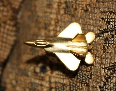 Lockheed Martin F-22 Raptor Goldtone Jet Airplane Lapel/ Hat Pin