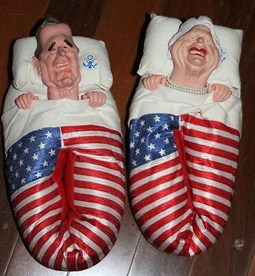 Vintage~ President George Bush Senior & First Lady ~ Funny House Shoes~ Sz Med