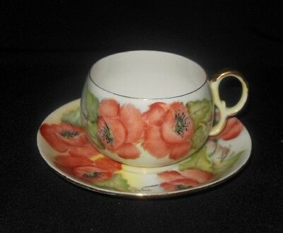 Hand Painted Tea Cup Saucer Set  Red Poppy Flowers Signed F.r