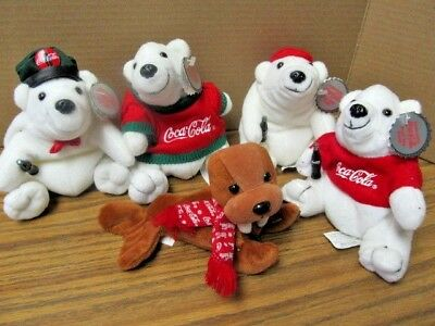 Coca-Cola Beanie Babies Lot Coke Collectibles Polar Bears / Walrus ~ Soda Plush