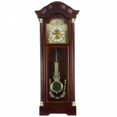 """Bedford*33""""Antique CHERRY OAK FINISH*Grandfather WALL CLOCK*with PENDULUM&CHIMES"""