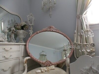 Fab Old  Lg. Antique French Victorian Pink Barbola Rose Swag Basket Wall Mirror