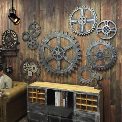 12cm Rustic Industrial Wooden Wall Hanging Gear for Home Restaurant Decor #A