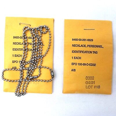2 Genuine Issue Soldier Dog Tag Replacement Ball Chain & Extension Set USGI Lot