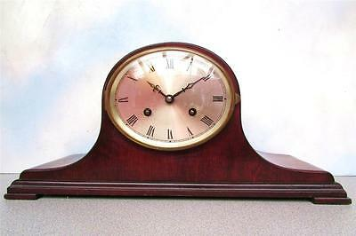 Ant. German Chiming Jahresuhrenfabrik Tambour Case Mantel Clock Working