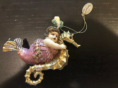 Katherine's Collection Fat Mermaid on seahorse Christmas Ornament
