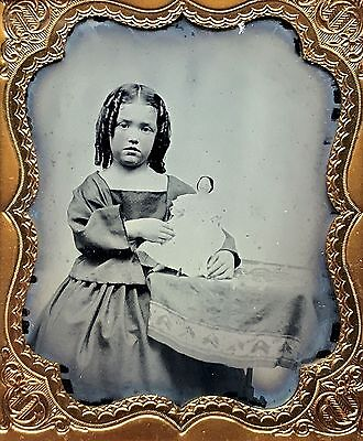 Rare 1/6 Plate Ambrotype - Darling Child With Her China Head Dolly - 1850's-60's