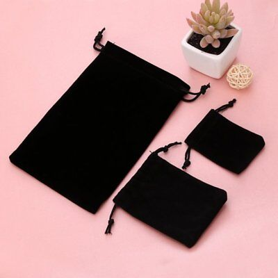S/M/L Small Black Gift Bag Velvet Cloth Jewelry Pouch Drawstring Wedding Favors
