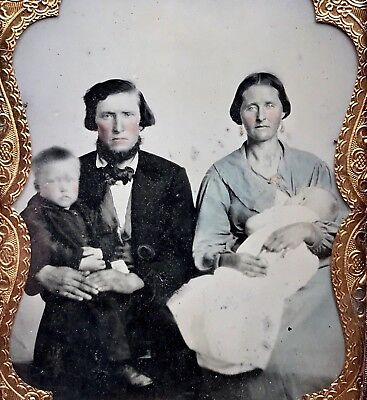 Super Rare 1/4 Plate Ambrotype - Mother Breastfeeds Her Child In Family Portrait