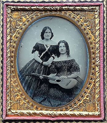 Superb Cased 1/6 Plate Ambrotype - Exquisite Vocalist & Accompanying Guitarist