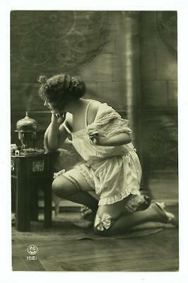 Beaut French Flapper Girl 1910's Risque Boudoir RPPC Lingerie & Garters Paris