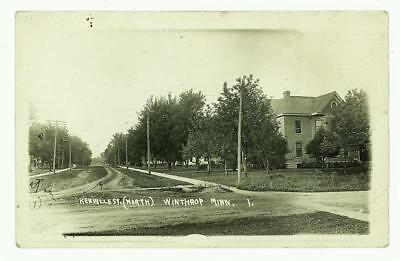 Winthrop MN Antique 1918 rppc Renville Street Looking North Sibley Co. MINNESOTA