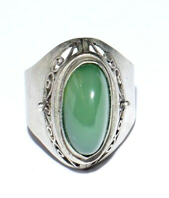 VINTAGE 60's RUSSIAN SOVIET PALE GREEN 100% NATURAL JADE COCTAIL RING 8 P