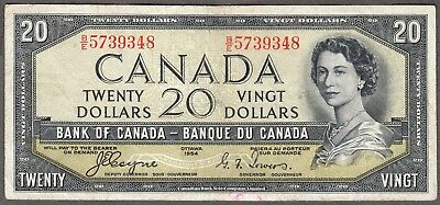 1954 Bank of Canada - $20 Devil Face Note - VF - Coyne Towers - A/E 2699453
