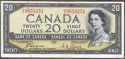 1954 Bank of Canada - $20 Devil Face Note - VF - Coyne Towers - B/E 3853251