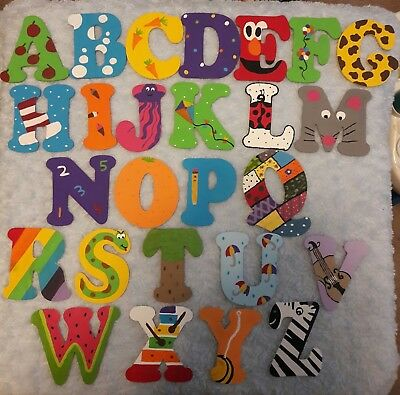 Painted Wooden Alphabet Set 4 Wall Letters Nursery Baby Daycare Room