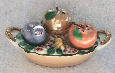 Art Deco Japanese Lusterware Fall Harvest China Condiment Basket Set Tray Luster