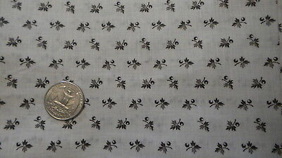"""Antique Cotton Shirting Fabric BLACK FLORAL ON WHITE 1 Yd/24"""" Wide"""